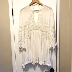 Free People White Lace Sheer Dress